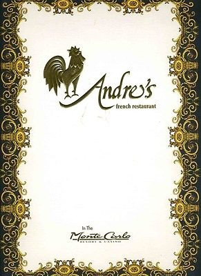 Andre's French Restaurant Menu The Monte Carlo Resort & Casino Las Vegas Nevada (Las Vegas Hotel Gift Cards compare prices)