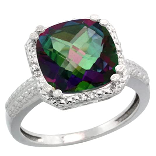 Revoni Sterling Silver Mystic Topaz & Diamond Ring, Checkerboard Cushion (11 mm)