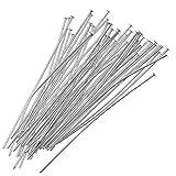 Beadaholique HP20/112S 50-Piece Head Pins, 24-Gauge, Silver Plated