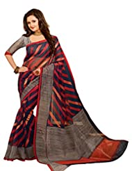 Brijraj Rashami Desai, Gray Blue Multi Bhagalpuri Silk Beautifull Printed Saree Wih Unstitch Blouse