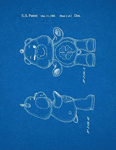 "Good Luck Care Bear Toy Patent Art Blueprint Poster (8.5"" X 11"") front-978632"