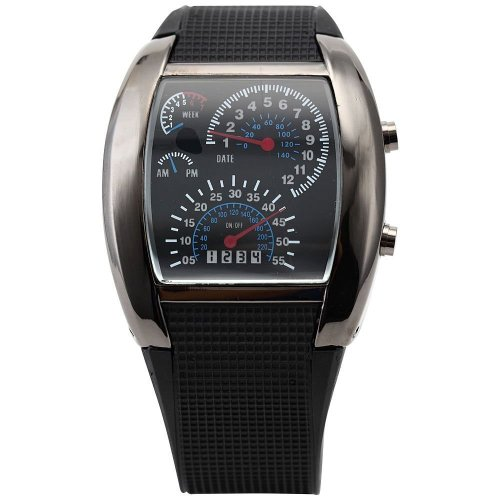 Mens-Blau-LED-Tachometer-Aviation-Pilot-Binary-Digital-Armbanduhr