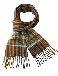 Dahlia Men's Wool Blend Scarf - Stripes Plaid - Brown