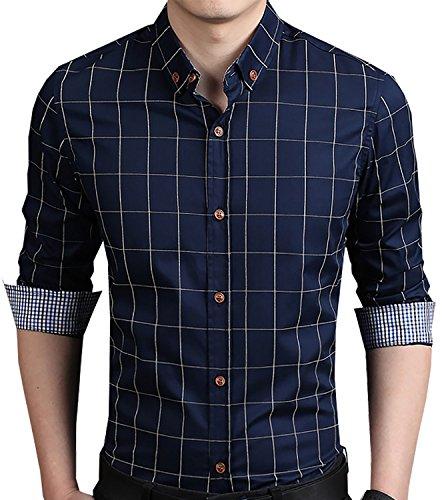 Aiyino-Mens-100-Cotton-Long-Sleeve-Plaid-Slim-Fit-Button-Down-Dress-Shirt