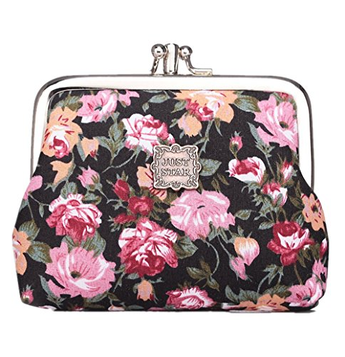 Cute Classic Floral Exquisite Buckle Coin Purse Black (Vintage Coin Purse compare prices)