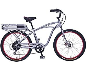IZIP E3 Zuma - Mens Beach Cruiser Electric Bicycle - Silver