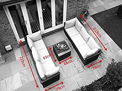 Rattan Bermuda Garden or Conservatory Furniture Double Sofa Set - FULLY ASSEMBLED - MIXED BROWN WEAVE