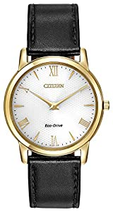 Citizen Watch Stiletto Men's Quartz Watch with White Dial Analogue Display and Brown Leather Strap AR1122-11A
