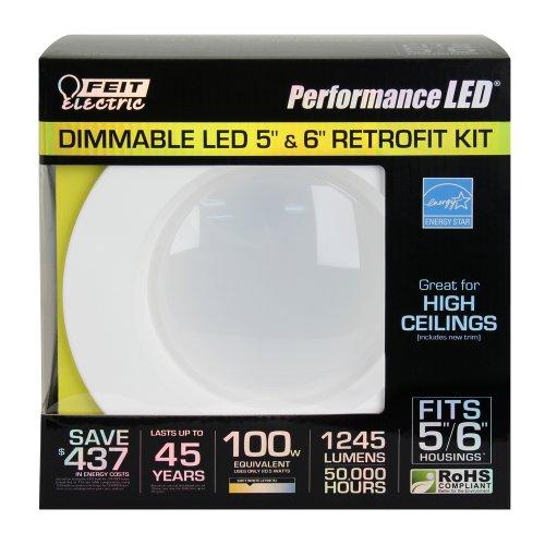 Feit LEDR56/827 1250 Lumen 2700K 5 & 6 Inch Dimmable Retrofit Kit - 120W EQUIVALENT
