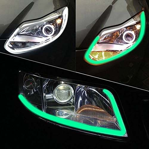 35inch/90cm Automobile LED Neon Strip Lights, Illuminating Headlight, Flexible Daytime Running & Contouring Tube Light OEM-Looking Audi/BMW/Mercedes Style Headlight (GREEN) (Audi Style Led Running Lights compare prices)