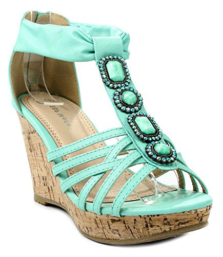 Beaded Strappy Ankle Cuff Sandal