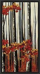 17in x 32in Beauty Within II by Oscar Soler - Black Floater Framed Canvas w/ BRUSHSTROKES