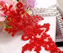 3 Pair Delicate Embroidered Lace Trim Dress DIY Lace Accessories Size25*12.5cm Embroidery Lace patch (Red)