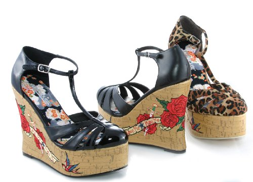 475-DAYNA, Women's 4.5 Cork Wedge T-Strap with Tattoo Embroidery by Ellie Shoes