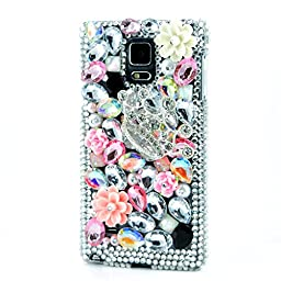 Samsung Galaxy Note 4 Case, Sense-TE Luxurious Crystal 3D Handmade Sparkle Diamond Rhinestone Cover with Retro Bowknot Anti Dust Plug - Silver Crown Flower / Colorful
