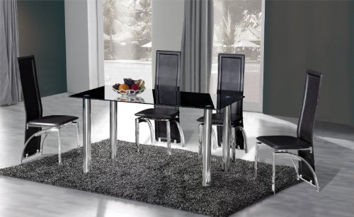 Crystal Dining Table + 4 Miller Design Chairs BLACK