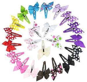 HipGirl Boutique Small Pinwheel Hair Bow Snap Clips, Multi-Color, 22 Count