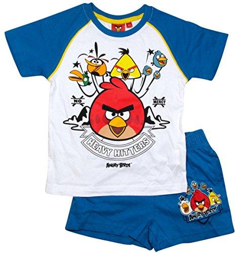 Angry Birds Schlafanzug Kollektion 2015 Shorty 104 110 116 122 128 134 140 146 152 Jungen Shortie Pyjama Neu Weiß-Blau (104 - 110)