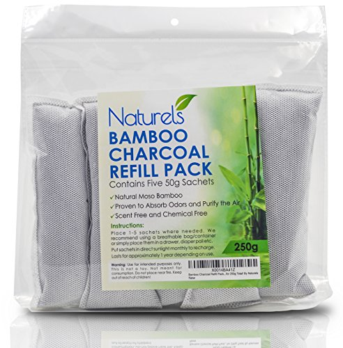Bamboo Charcoal 5 Pack! Purify The Air, Eliminate Odors and Control Moisture | Naturally Freshen Smelly Areas Such as Closets, Cars, Shoes and Diaper Pails | Five 50g bags for 250g Total! (Fridge Refresher compare prices)