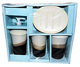 Ceramic Elegant Bath Accessories Gift Set. Pump, Toothbrush Holder, Cup, and a Soap Dish