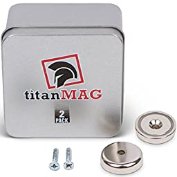 titanMAG - Cup Wall Mount Magnets - Neodymium Magnets - NdFeB - Rare Earth Magnets - Includes Screws an Storage Box - 1.26\