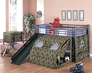 Coaster Kid's GI Child Bunk Bed with Slide and Tent, Twin Size by Coaster Home Furnishings