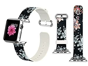 iWatch Leather Band 38mm, Band with Adapter for Apple Watch Strap 38mm - Vintage Grey Flowers