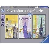 Ravensburger 16329 - Reise um die Welt, 3x 500-Teilig Triptychon Puzzle