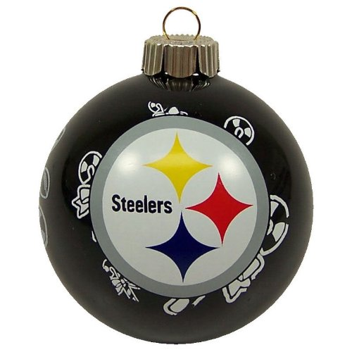 Pittsburgh Steelers Small Painted Round Candy Cane Christmas Tree Ornament by Topperscot