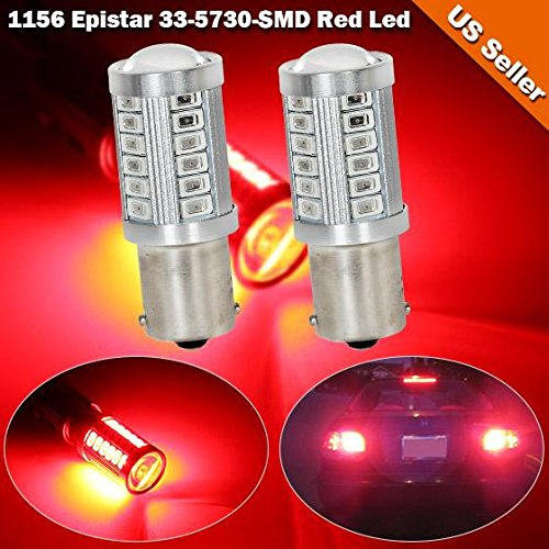 Partsam 2pcs Red Stop brake light/ high mount stop light 40W (20W for each bulb) 33-Epistar-5730-SMD 1156 P21W for Volvo / Mercedes-Benz / BMW / Volkswagen (2008 Vw Se Jetta Owners Manual compare prices)