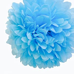 """Dress My Cupcake 14"""" Baby Blue Tissue Paper Pom Poms, Set of 4 - Boy Baby Shower Decorations, Boy Baby Shower Party Supplies with Favors & Invitations"""