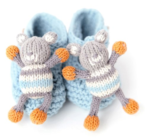 Finn + Emma Organic Cotton Baby Boys Rattle Booties - Bear (Discontinued by Manufacturer)
