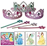 Princess Party Favor Pack - 36 Pc (12 Tiaras, 12 Mini Star Wands, 12 Princess Disney Tattoos)