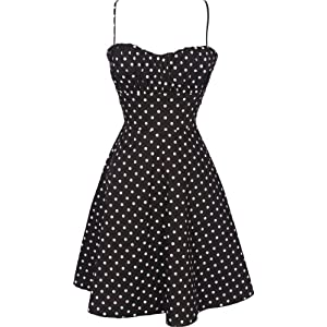 50's Retro Rockabilly Polkadot Dress Sundress, 3X, Black