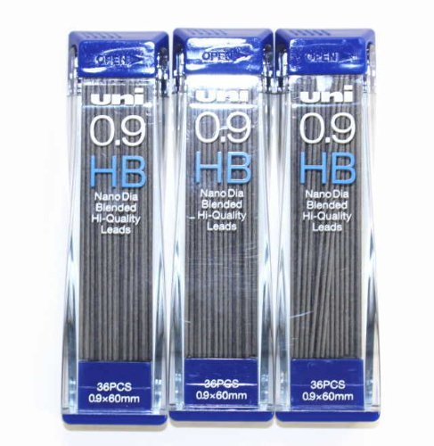 Strength & Deep & Smooth -Uni-ball Extra Fine Diamond Infused Pencil Leads, 0.9 Mm-hb-[nano Dia]36 Leads X 3 Pack/total 108leads/(with Values Japan Original Description of Goods) by Uni