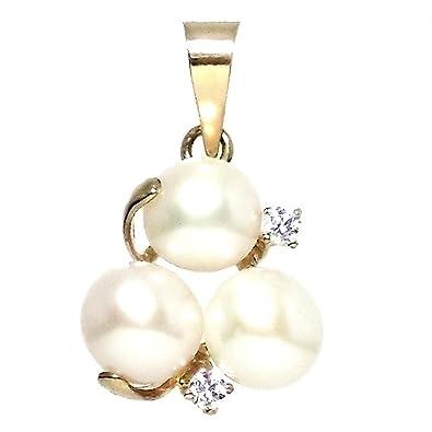 18k gold pendant pearls 2 3 zircons [297]