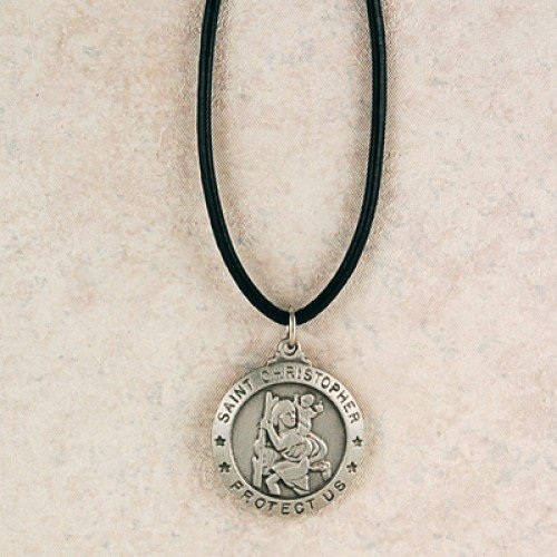 Pewter St Christopher 24Leather Pewter Pendants & Gifts Leather Corded Pewter Men's Christian Catholic Pendant Charm Necklace Jewelry Reminders of Faith Medals