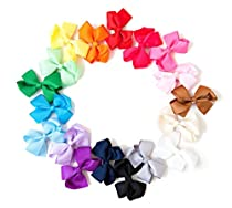 Ema Jane Double Set Grosgrain Baby Hair Bow Clips (30 Total, 2 of Each Color)