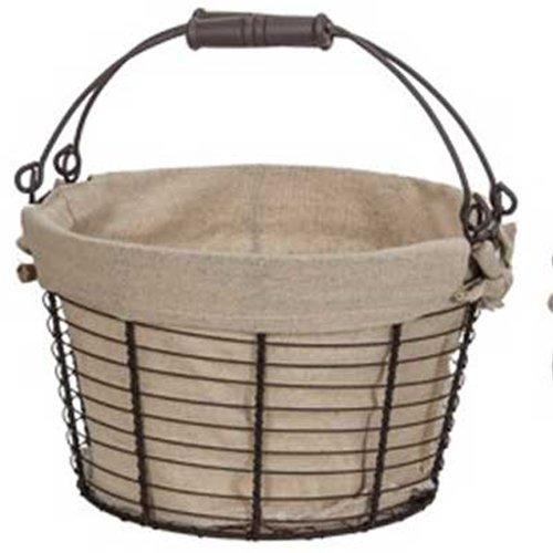 Medium Providence Round Wire Basket, Wood Handle, Linen Liner, Brown