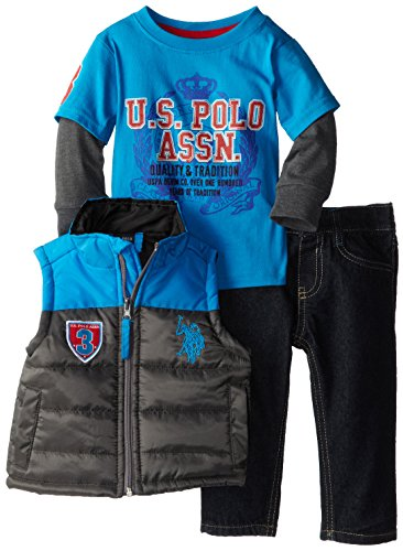 U.S. Polo Assn. Baby-Boys Infant Boys Puffer Vest T-Shirt Hangdown And Denim Jeans Set, Teal Blue, 18 Months