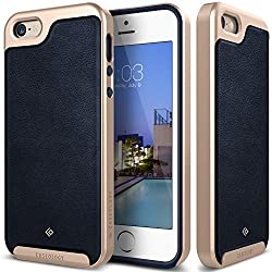 iPhone SE Case, Caseology [Envoy Series] [GENUINE LEATHER] [Leather Navy Blue] Leather Bound Bumper Cover for iPhone SE (2016) & iPhone 5S / 5 (2013) - Leather Navy Blue