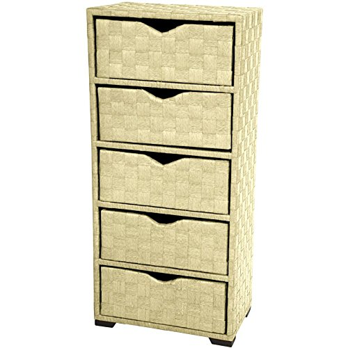 Oriental Furniture Best Deals Bargains Discounts End Tables Nightstands, 25-Inch Natural Fiber 3 Drawer Chest, White