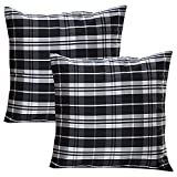 Home Kouture Polyester Set Of 2 Checkmate Cushion Cover; Black And White, 40.64 X 40.64 CM