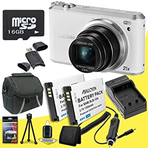 Samsung WB350F 16.2MP CMOS Smart Wi-fi & NFC Digital Camera (White) + Two SLB-10A Replacement Lithium Ion Battery  + External Rapid Charger + 16GB microSD Memory Card + Carrying Case + SDHC Card USB Reader + Memory Card Wallet + Deluxe Starter Kit DavisMax Bundle