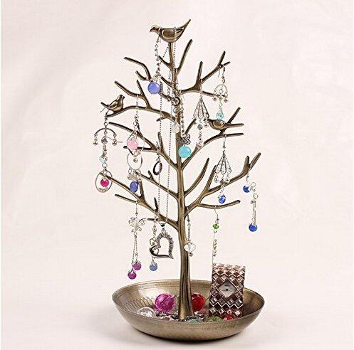 アンティーク風 小鳥がとまる 美しい ツリー型 アクセサリー スタンド ネックレス ピアス イヤリング も 収納できる
