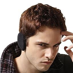 Unisex Women Men Outdoor Ski Black Ear Warmer Earmuffs Ear Bags(l)