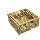 Woodluv Brand New Set Of 3 Square Storage Seagrass Basket (E01-102SETOF3)