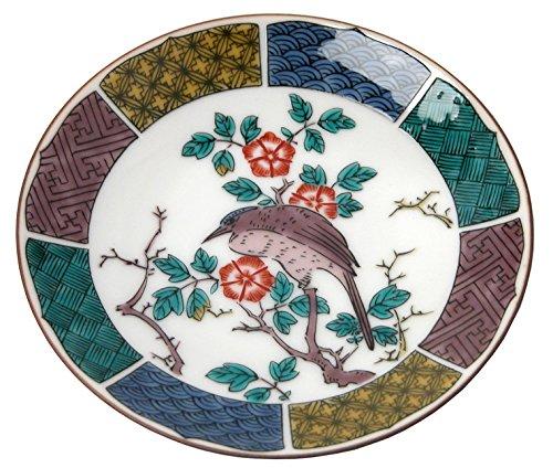 kutani-kutani-overglaze-enamels-old-bean-plate-flowers-and-birds-figure-mc-10-japan-import