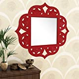 Home Sparkle Engineered Wood Wall Mirror (60 Cm X 1.5 Cm X 60 Cm, Red, Sh1131)