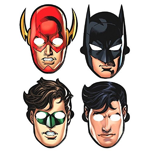 Amscan Adventure Filled Justice League Birthday Party Paper Masks Favors, Multicolor, 8 3/5